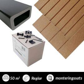 50 m2 komposittrall  Classic teak  med monteringssats och reglar