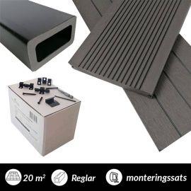 20 m2 komposittrall  Marine 40 charcoal med monteringssats och reglar