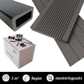 5 m2 komposittrall  Marine 40 charcoal med monteringssats och reglar