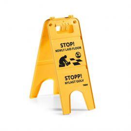 "Varningsskylt stativ ""Stopp! Nylagt Golv"""