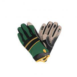 Mekanikerhandske silikon kardborre, grön/svart/gul